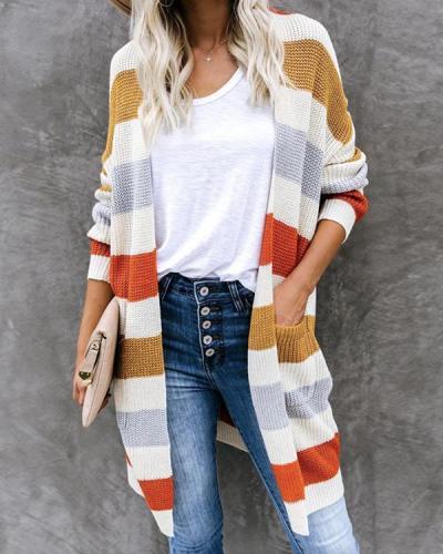 Fashion Stripe Knit Sweater Cardigan Long Coat