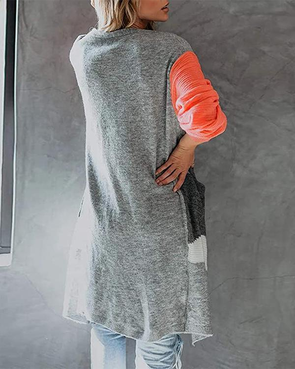 Fashion Straight Color Block Knit Sweater Cardigan Long Coat