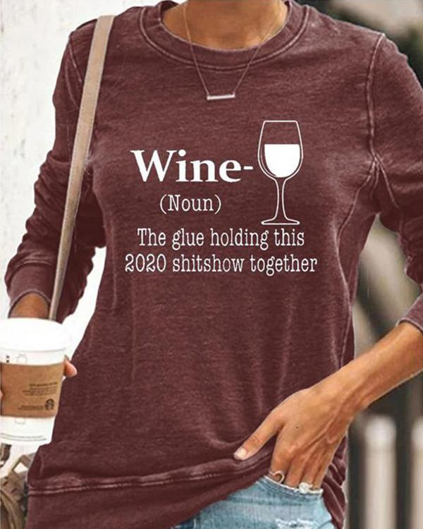Women Casual Long Sleeve Printed Crew Neck Shirt