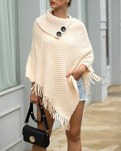 Womens Sweater Knit Tassel Crochet Sweaters Pullover Cape Shawl Wrap