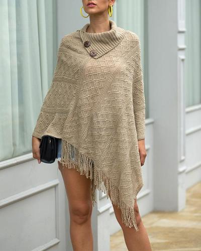 Autumn/Winter Knitted Cloak Sweater Women Loose Warm Tassel Shawl Cloak