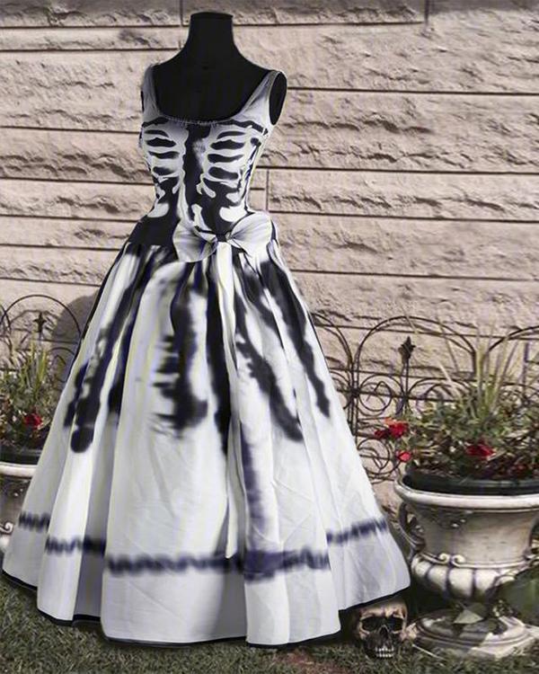 Round Neck Casual Sleeveless Halloween Dress