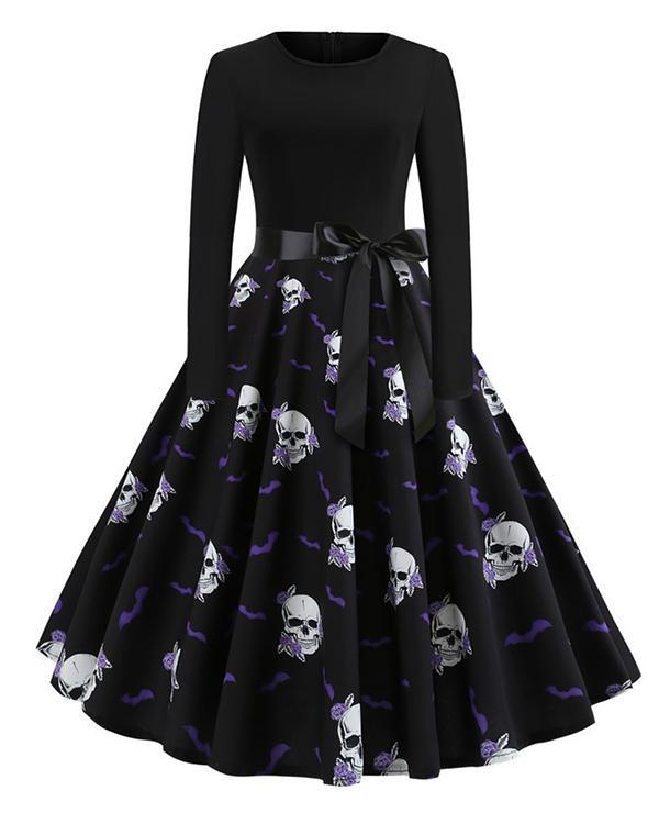 Halloween Pumpkin/Skull Round Neck Print Dress With Waistband