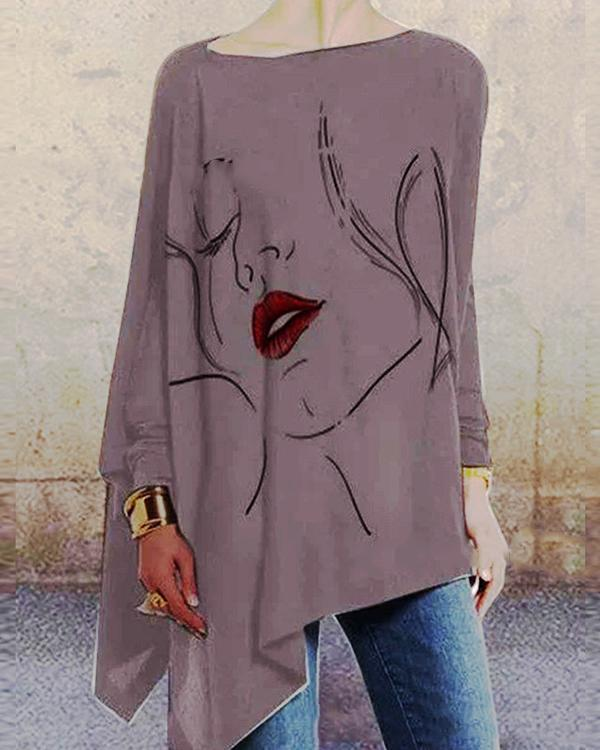 Gray Crew Neck Casual Shirts & Tops
