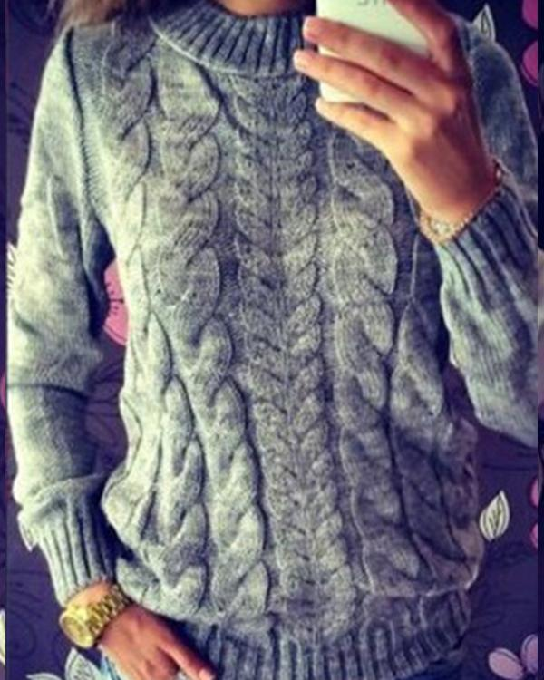 Women's Casual Trendy Solid Cable Knit Sweaters