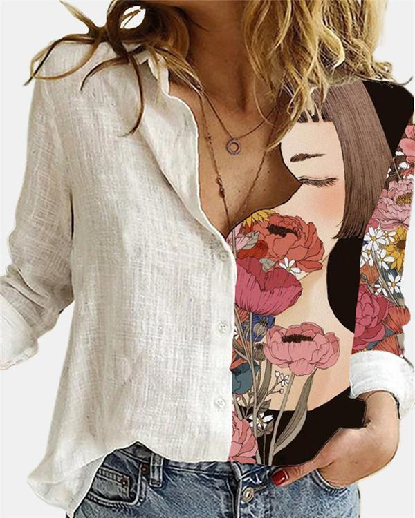 Floral Printed Lapel Collar Long Sleeve Loose Blouse