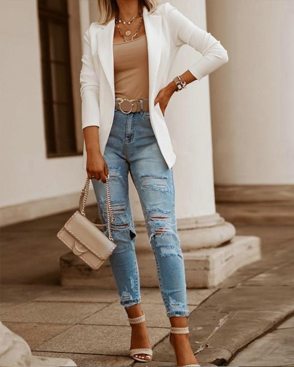 Fashion Solid Long Sleeve Blazer