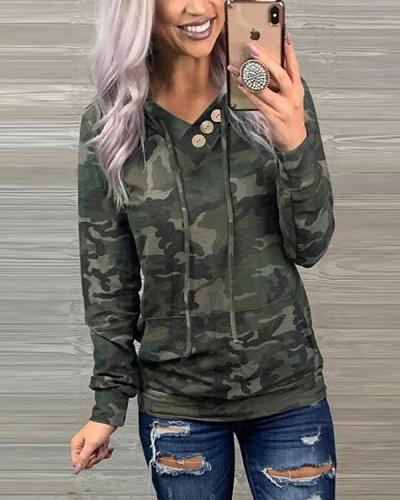 Casual V Neck Button Drawstring Camo/Leopard/Snake Hoodie Sweatshirt