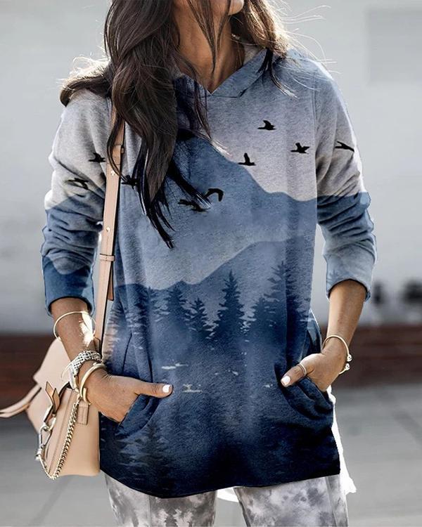 Women Landscape Print Long Sleeve Hooded Casual Hoodie