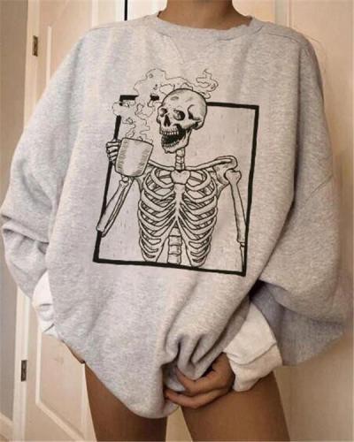 Skull Print Casual Long Sleeve Sweatshirt