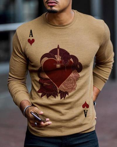 Mens Brown Printed Knit Long Sleeve T-Shirt
