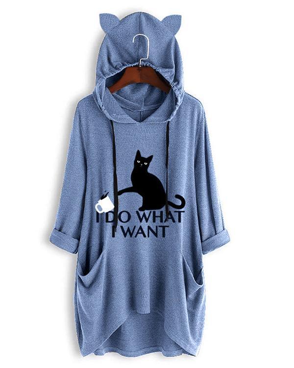 I DO WHAT I WANT Cute Cat Print Irregualr 3/4 Sleeve Plus Size Hoodie