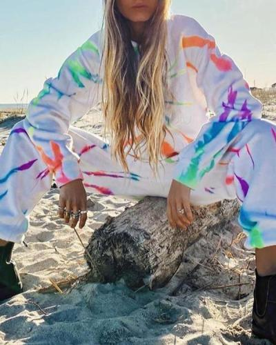 Street Style Tie Dye Hoodie Sweatshirt&Pants Set