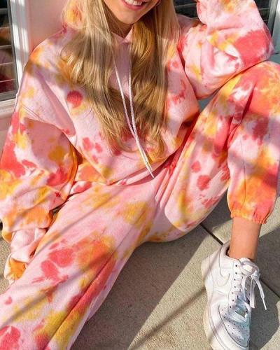 Casual Tie Dye Hoodie Sweatshirt & Pants Set