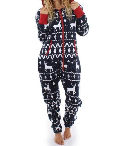 Casual Christmas Hoodie Jumpsuit Sleepwear