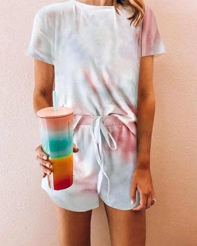 Tie-dye T-shirt & Shorts Pajama Sets