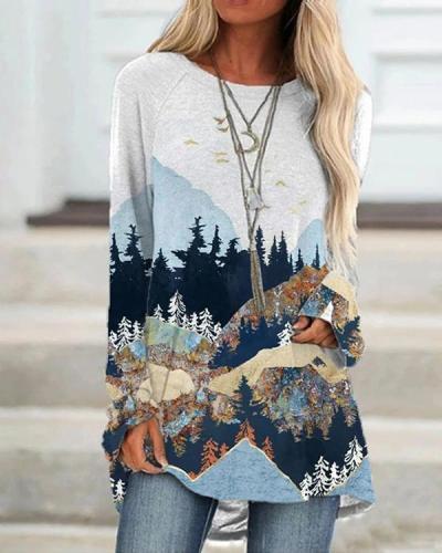 Landscape Print Cotton Blend Long Sleeve Shirt & Top