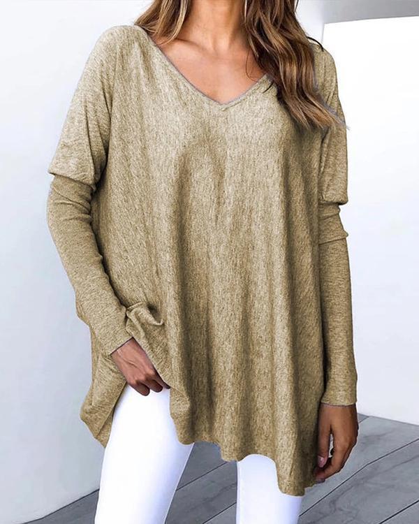 Casual Plain V-neck Long Sleeve Shirt