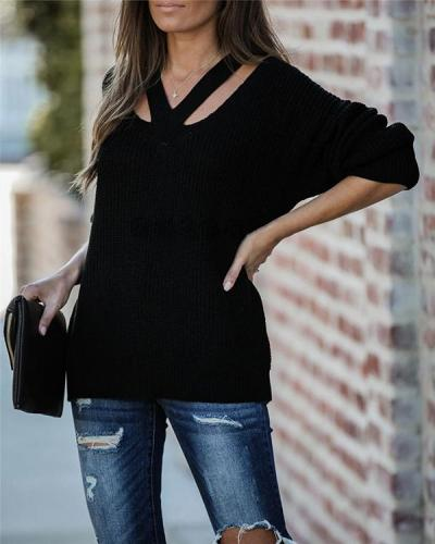 Solid V-Neck Casual Sweaters(5 Colors)