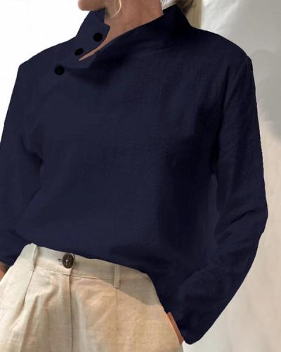 Women Solid Color Button High Collar Long Sleeve Shirts