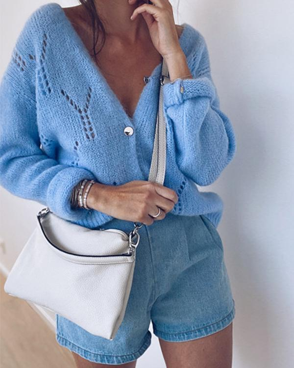 Women's Hollow out Solid Knit Sweater Cardigan