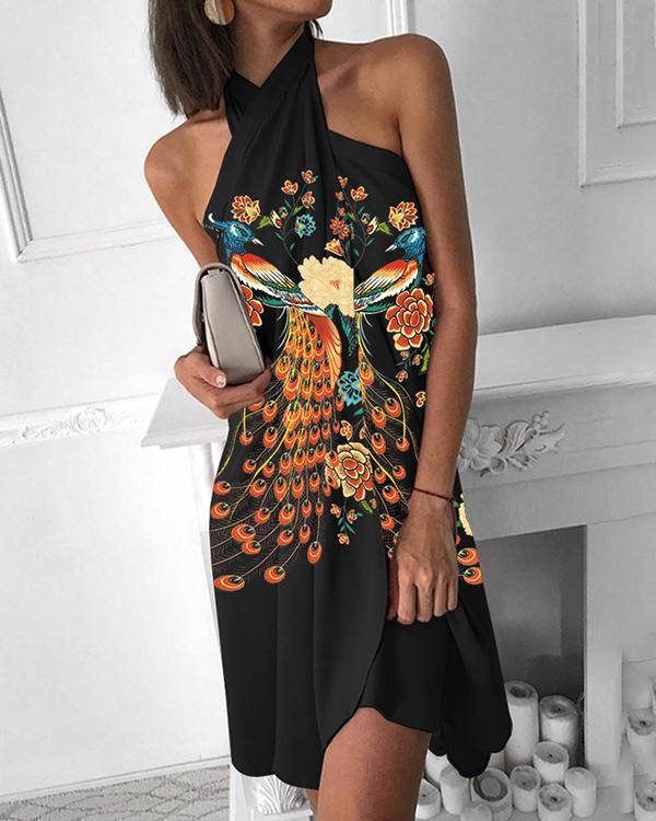Peacock Print Cross Halter Midi Dress