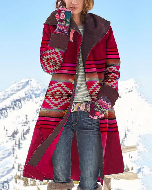 Vintage Geometric Jacquard Outerwear Buttoned Color-block Hooded Coat