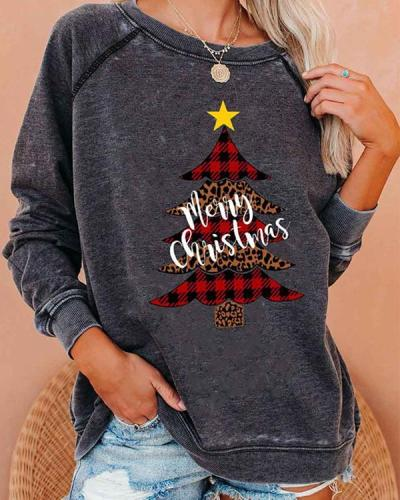 Christmas Tree Print Cozy Sweatshirt