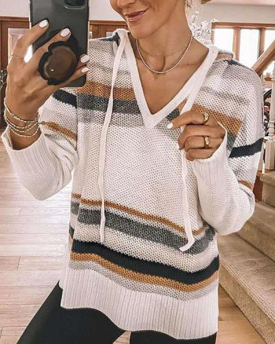 Color Block Hooded Casual V Neck Drawstring Sweaters