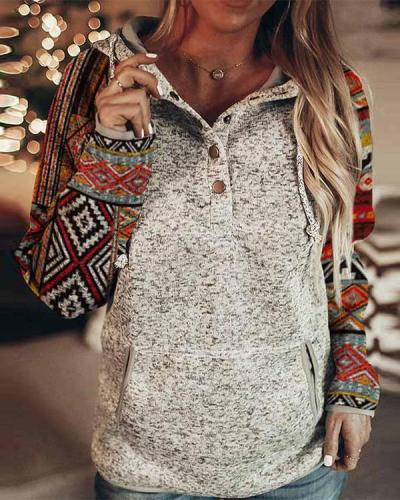 Fashion Print Button Down Hooded Sweatshirt