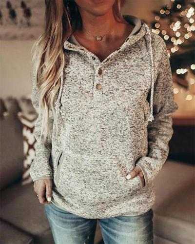 Casual Long Sleeve Plain Cotton-Blend Sweatshirt