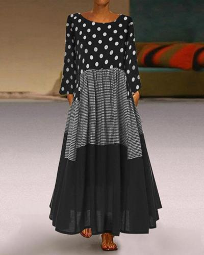 Casual Plus Size Polka Dot Round Neckline Maxi A-line Dress