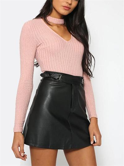 Colors Long-Sleeved Halter Slim Wild Piece Jumpsuit Clothing Top