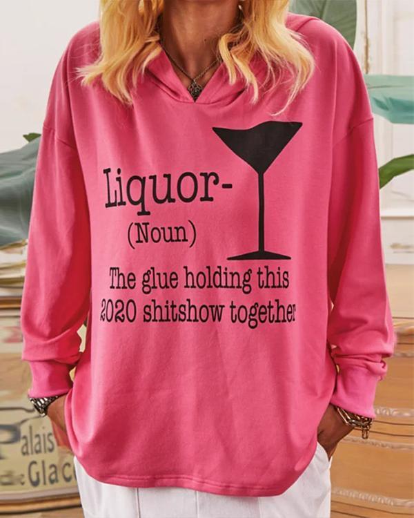 Casual Loose Print Hoodie Sweatshirt