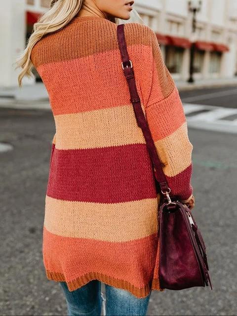 Elegant Solid Gradient Color-block Plus Size Cardigan