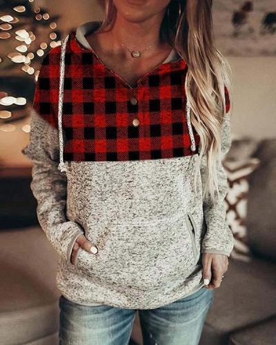Fashion Plaid Hooded Sweatshirt