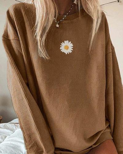 Casual Floral Printed Long-Sleeved Sweatershirt