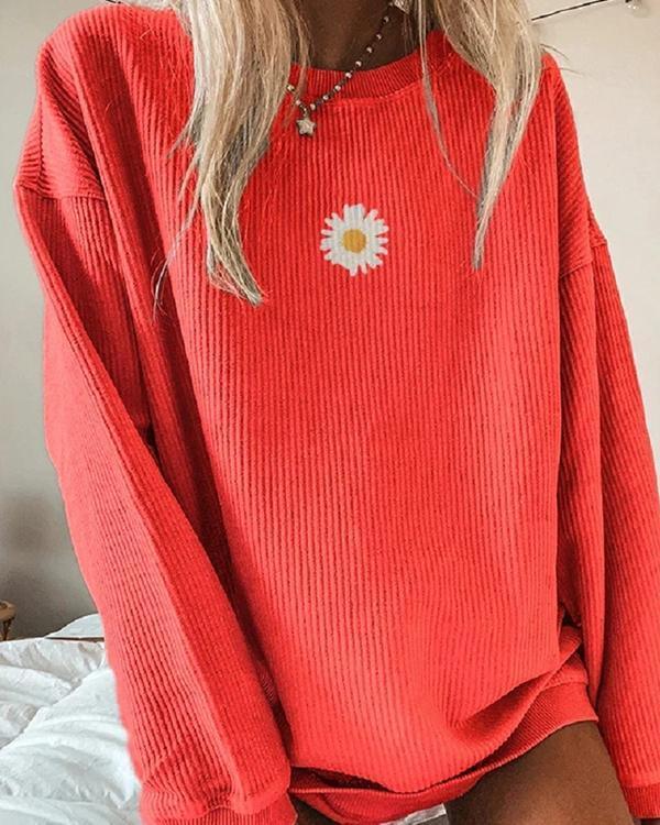 Casual Floral Printed Long-Sleeved Sweatershirt
