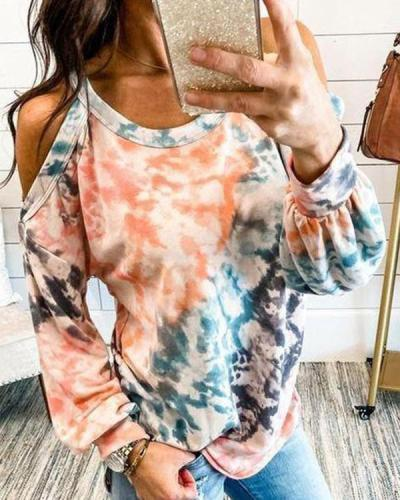 Tie Dye Cold Shoulder Long Sleeve Blouse