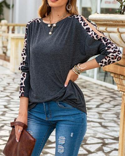 Women Fashion Shift Crew Neck Casual Leopard Cold Shoulder Shirts & Tops