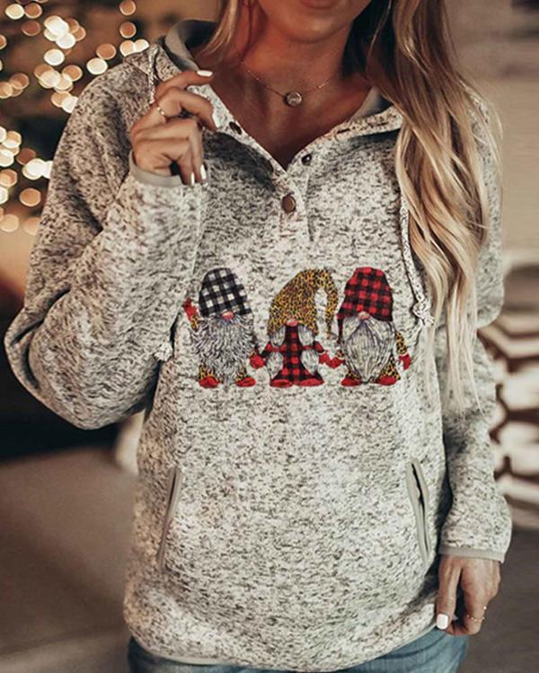 Fashion Christmas Printed Hooded Sweatshirt