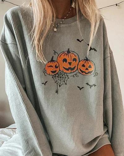 Casual Pumpkin Printed Long-Sleeved Sweatershirt