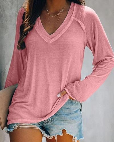 Plus Size Solid V-Neck Long Sleeves Casual T-shirts