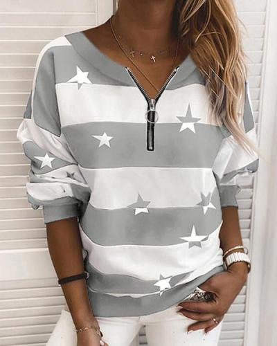 Print Striped Round Neck Long Sleeves Zipper Sweatshirt