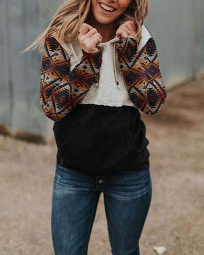 Women's Printed Hood Collar Colorblock Pocket Sweatshirt