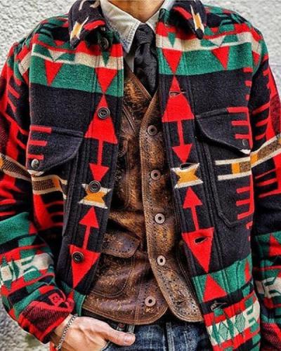 Mens Casual Print Jacket