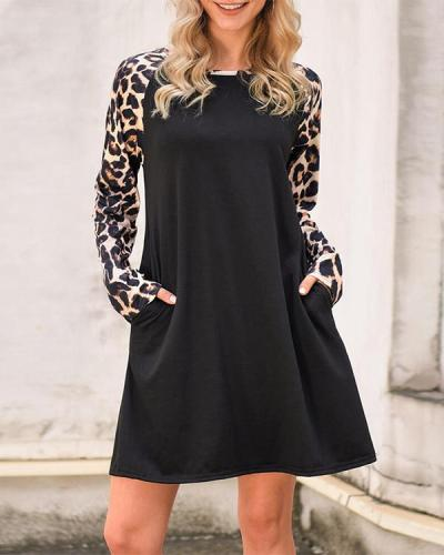 Leopard Splicing Pocket Mini Dress - Black