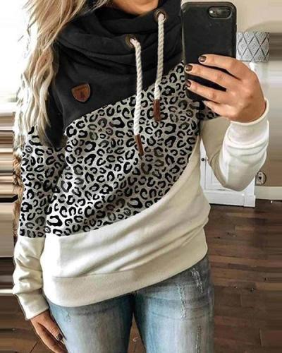 Casual Cotton-Blend Hoodie Color-Block Sweatshirt