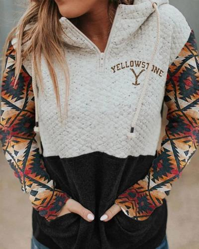 Women's Printed Hood Collar Colorblock Pocket Sweatshirt