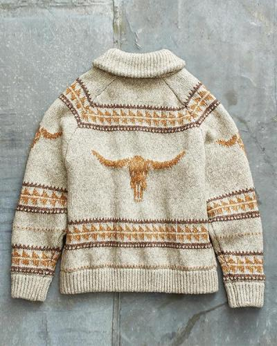 Mens Casual Knitted Outerwear Warm Coat